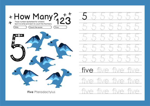 Traccia i numeri scrivendo fogli di lavoro pratici e imparando i numeri per la scuola materna numero cinque 5