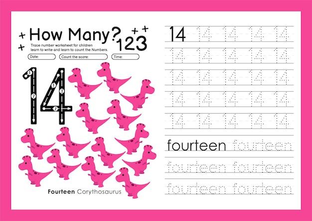 Traccia i numeri scrivendo fogli di lavoro pratici e imparando i numeri per la scuola materna numero quattordici 14