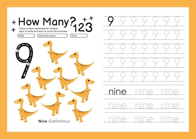 Traccia i numeri scrivendo fogli di lavoro pratici e imparando i numeri per la scuola materna numero nove 9