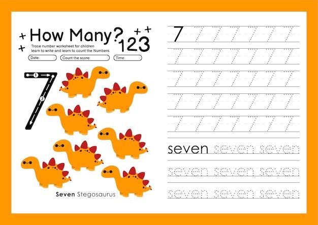 Traccia i numeri scrivendo fogli di lavoro pratici e imparando i numeri per la scuola materna numero sette 7