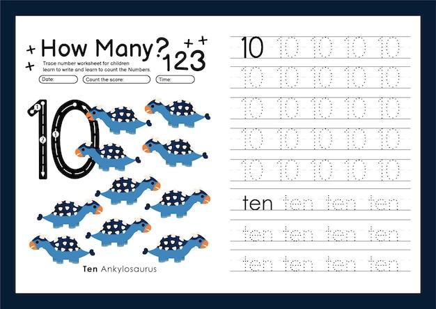 Traccia i numeri scrivendo fogli di lavoro pratici e imparando i numeri per la scuola materna numero dieci 10