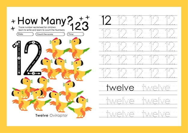 Traccia i numeri scrivendo fogli di lavoro pratici e imparando i numeri per la scuola materna numero dodici 12