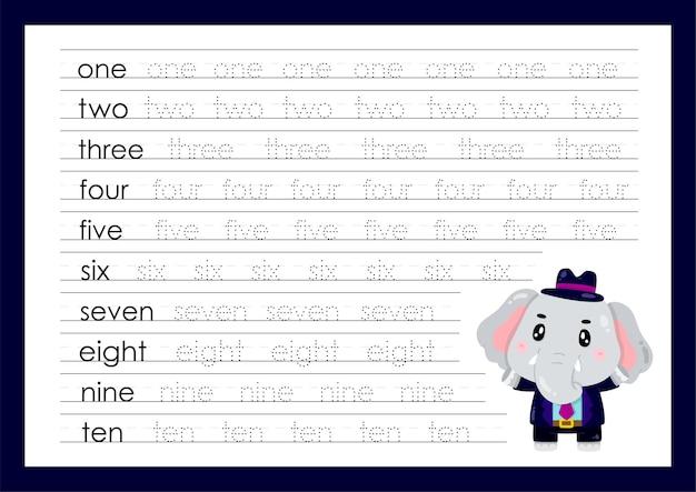 Traccia i numeri scrivendo fogli di lavoro pratici per la scuola materna
