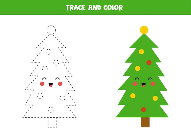 Tracciare e colorare un simpatico albero di natale. pratica di scrittura a mano.