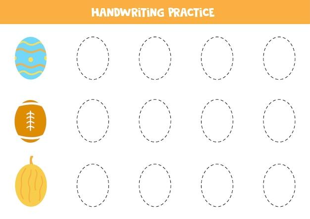 Tracciare i contorni degli oggetti ovali dei cartoni animati. pratica di scrittura a mano per i bambini.