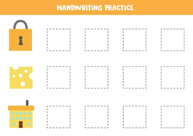 Tracciare i contorni degli oggetti quadrati dei cartoni animati. pratica di scrittura a mano per i bambini.