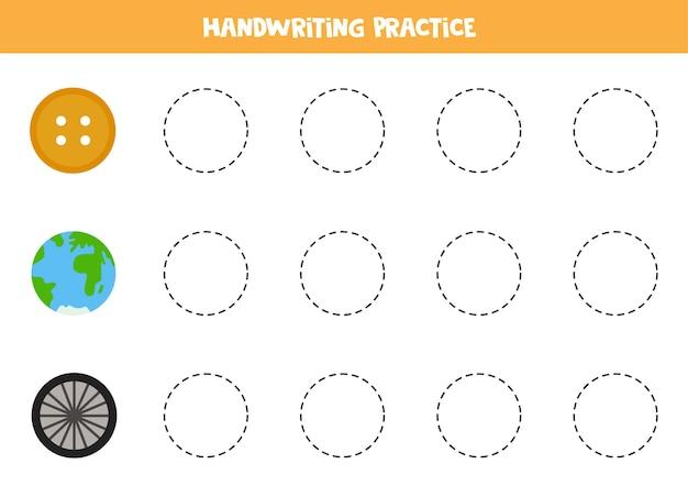 Tracciare i contorni di simpatici oggetti circolari. pratica di scrittura a mano per i bambini.