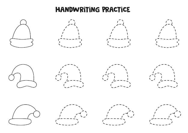 Tracciare contorni per bambini con simpatici cappellini natalizi. pratica di scrittura a mano.