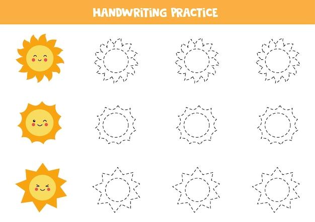 Traccia i contorni per i bambini con simpatici soli kawaii. pratica di scrittura a mano per bambini.