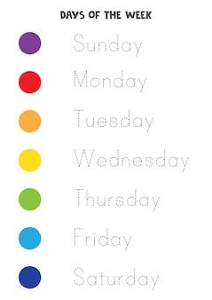 Tracciare lettere. traccia i giorni della settimana. pratica di scrittura.
