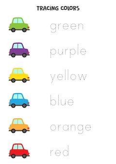 Tracciare lettere. traccia i nomi dei colori di base. pratica di scrittura.