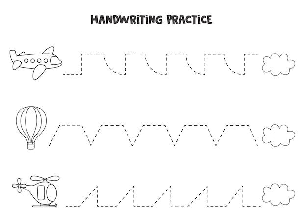 Tracciare linee per bambini con trasporto aereo in bianco e nero. pratica di scrittura a mano per i bambini.