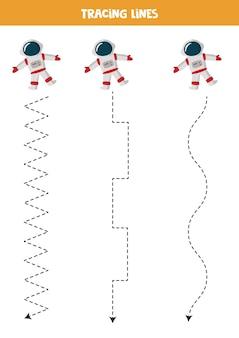 Tracciare linee per bambini con astronauta dei cartoni animati. pratica di scrittura a mano per bambini.