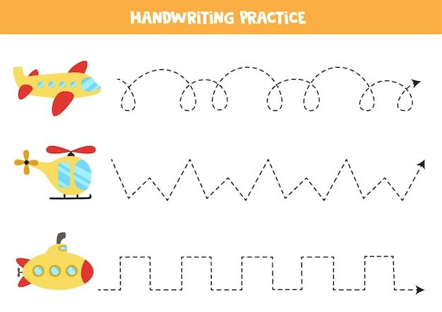 Tracciare linee per bambini con cartone animato aereo, elicottero, sottomarino. pratica di scrittura a mano per bambini.