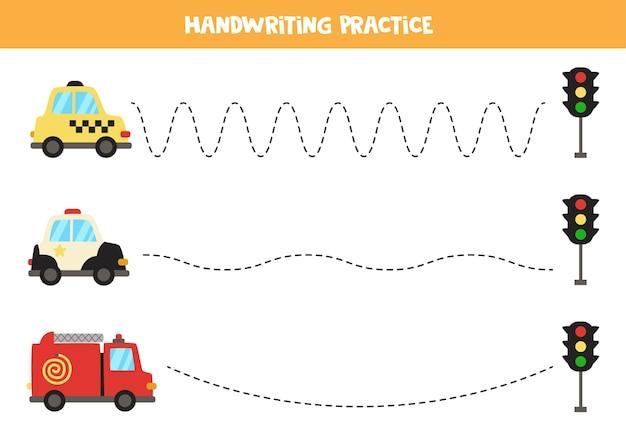 Tracciare linee per bambini con taxi dei cartoni animati, auto della polizia e camion dei pompieri. pratica di scrittura a mano per bambini.