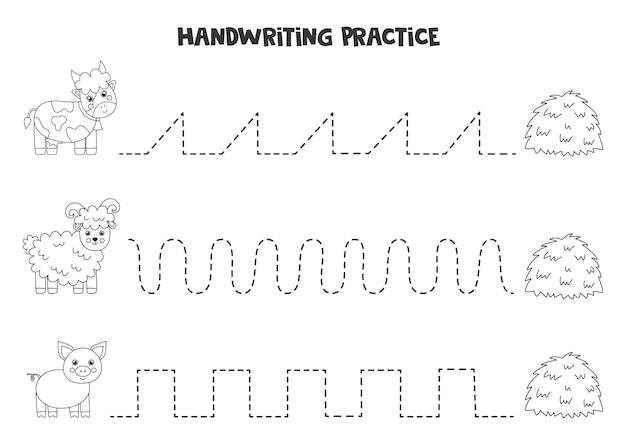 Tracciare linee per bambini con simpatici animali da fattoria in bianco e nero. pratica di scrittura a mano per bambini.