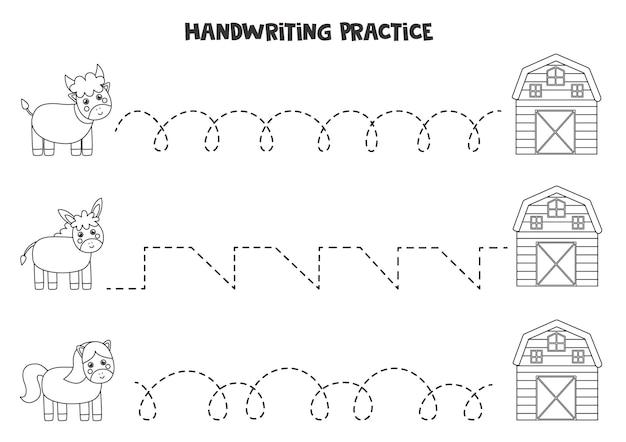 Tracciare linee per bambini con simpatici animali da fattoria in bianco e nero. pratica di scrittura a mano per i bambini.