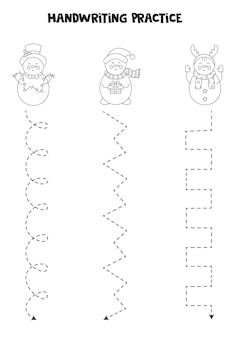 Tracciare linee per bambini con simpatici pupazzi di neve bianchi e neri. pratica di scrittura a mano.