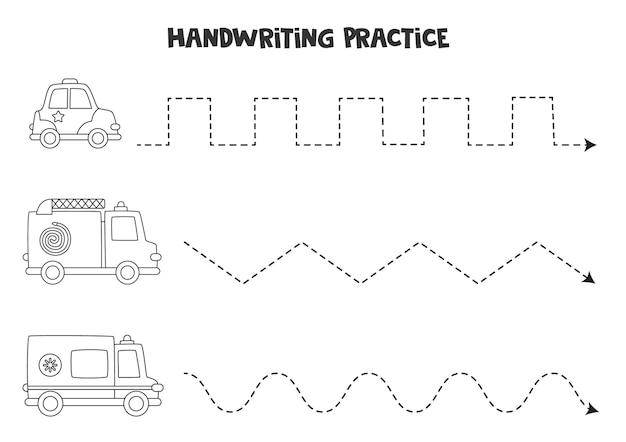 Tracciare linee per bambini con simpatici mezzi di trasporto in bianco e nero. pratica di scrittura a mano per bambini.