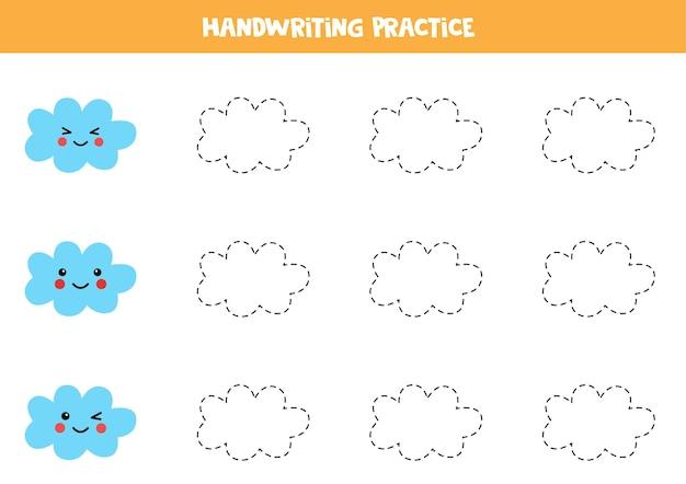Tracciare linee per bambini con nuvole carine. pratica di scrittura a mano per bambini.