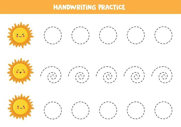 Traccia linee per bambini con il simpatico sole kawaii. pratica di scrittura a mano per bambini.