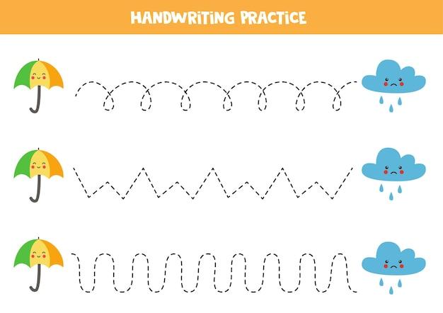 Tracciare linee per bambini con ombrello carino e nuvola piovosa. pratica di scrittura a mano per bambini.