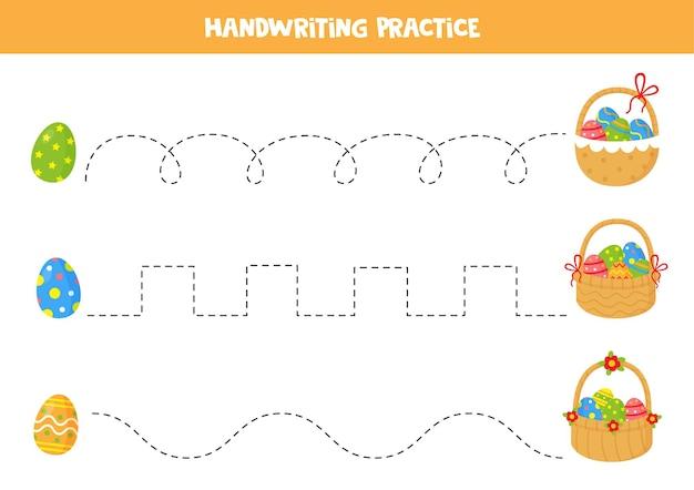 Tracciare linee con le uova di pasqua del fumetto e i cestini