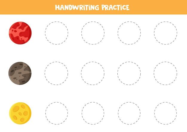 Tracciare linee con pianeti colorati del sistema solare. pratica di scrittura a mano con marte, mercurio e luna.