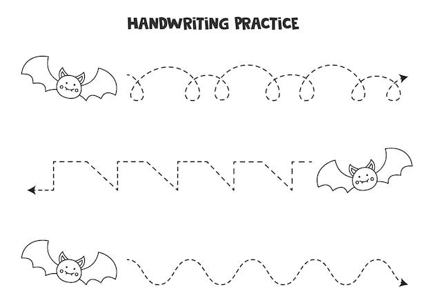 Tracciare linee con simpatici pipistrelli bianchi e neri. pratica di scrittura.