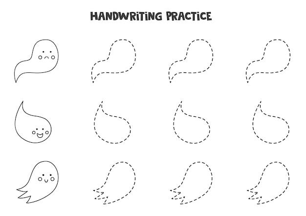 Tracciare linee con simpatici fantasmi in bianco e nero. pratica di scrittura.
