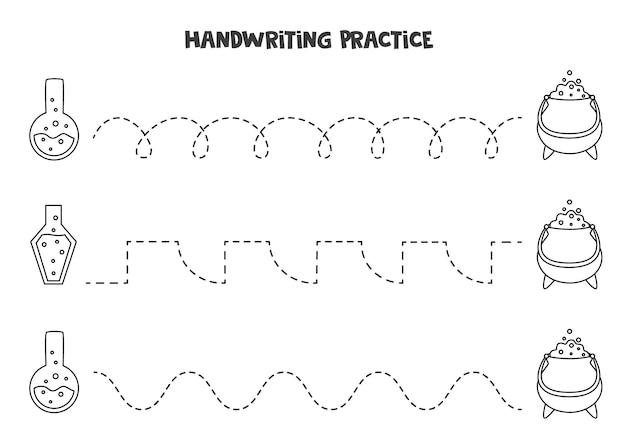 Tracciare linee con graziose pozioni in bianco e nero. pratica di scrittura.