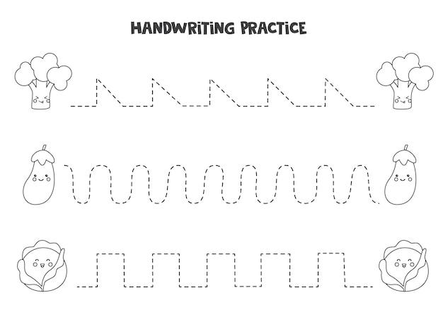 Tracciare linee con graziose verdure in bianco e nero. pratica di scrittura.