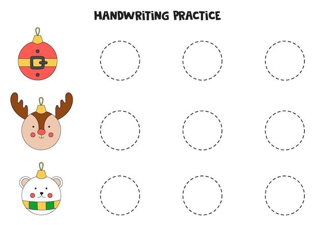 Tracciare linee con simpatiche palle di natale dei cartoni animati. pratica di scrittura.