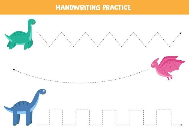 Tracciare linee con simpatici dinosauri. pratica di scrittura a mano per bambini.