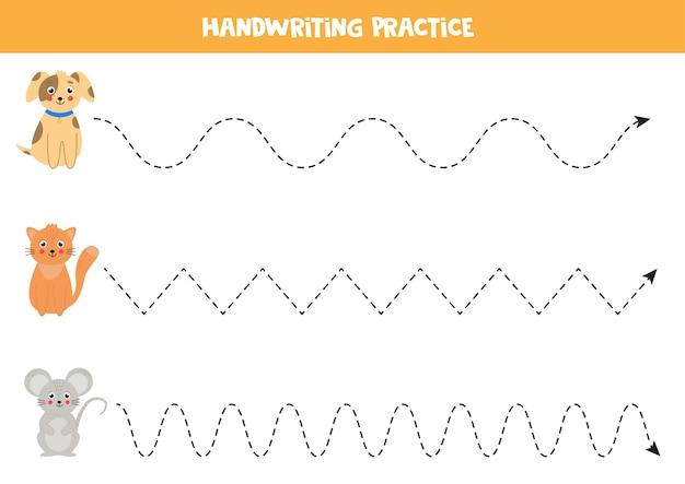 Tracciare linee con simpatici cani, gatti e topi. animali domestici. foglio di lavoro per la pratica della scrittura a mano.