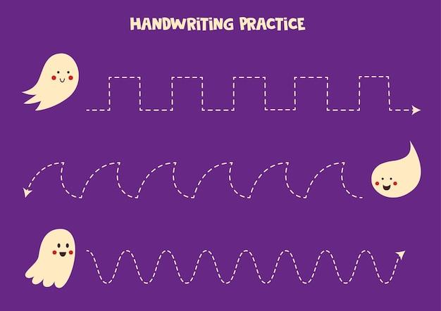 Tracciare linee con simpatici fantasmi. pratica di scrittura.
