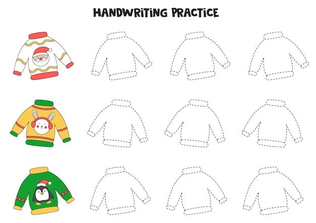 Tracciando linee con brutti maglioni natalizi. pratica di scrittura.