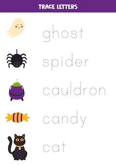 Tracciare i nomi degli elementi di halloween per i bambini.