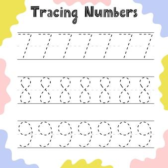 Tracciare i numeri 7, 8, 9 pagina delle attività per i bambini. foglio di lavoro di scrittura prescolare per i più piccoli. modello di foglio di formazione. illustrazione vettoriale