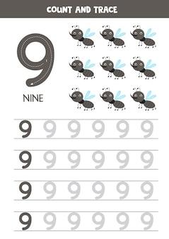 Tracciare il foglio di lavoro dei numeri con simpatici moscerini. traccia il numero 9.