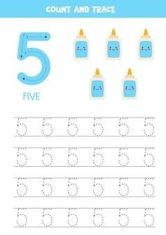 Foglio di lavoro per tracciare i numeri con simpatica colla kawaii.
