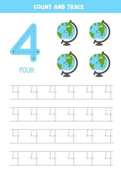 Foglio di lavoro dei numeri di tracciamento con materiale scolastico carino.