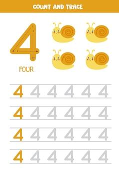 Tracciare il foglio di lavoro dei numeri con le lumache carine. traccia il numero 4.