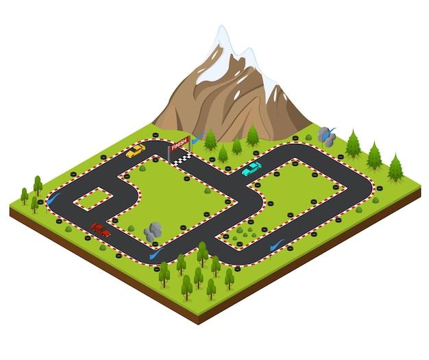 Vista isometrica della macchina da corsa della pista. paesaggio con alberi e montagne