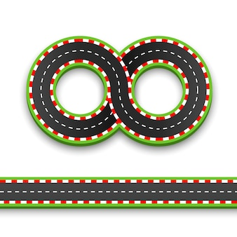 Traccia la strada verso l'infinito, autostrada vettoriale stradale, illustrazione vettoriale, sfondo speedway.