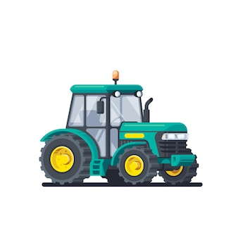 Trattore isolato su sfondo bianco. macchine agricole. illustrazione di stile piatto
