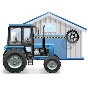 Illustrazione di riparazione del trattore isolato su bianco