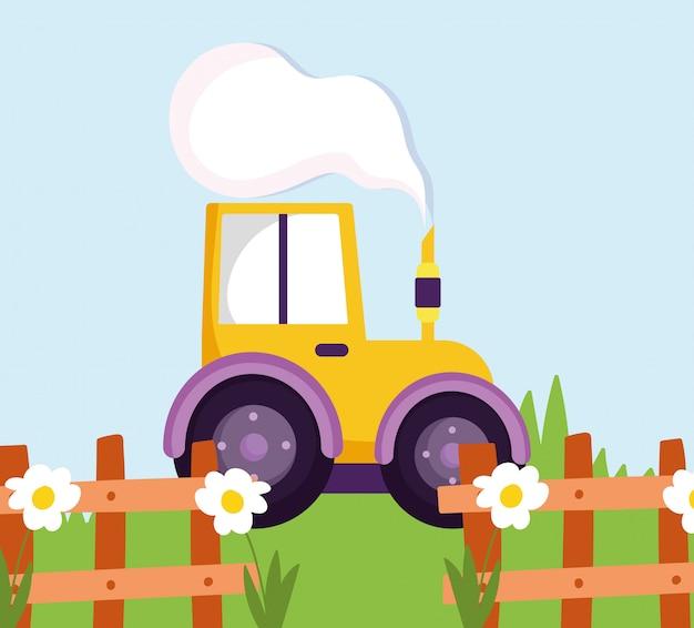 Illustrazione del fumetto dell'azienda agricola di erba dei fiori del recinto di legno del camion del trattore
