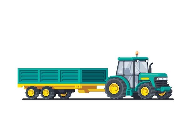 Trattore con rimorchio isolato su sfondo bianco. macchine agricole. illustrazione di stile piatto