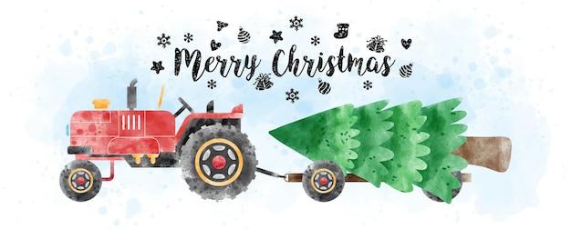 Un trattore con camion che trasporta pino in stile acquerelli con lettere di buon natale e decorato con simboli natalizi su acquerello azzurro e sfondo bianco.
